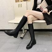 長筒靴女 長靴女不過膝騎士靴馬丁靴季新款顯瘦瘦瘦鞋小個子高筒靴 快速出貨