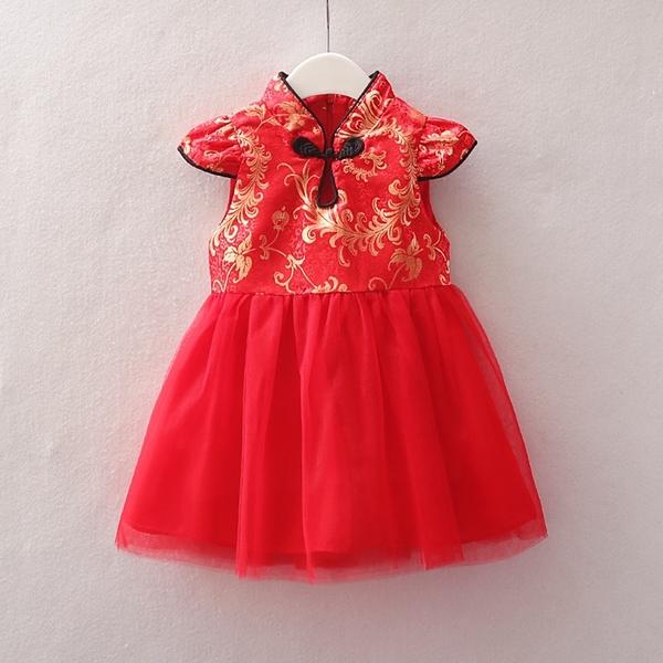 花紋刺繡旗袍小包袖中國結拼接紗裙洋裝 連衣裙 旗袍裝 童裝 週歲 過年 大紅 新年 女童 拜年服