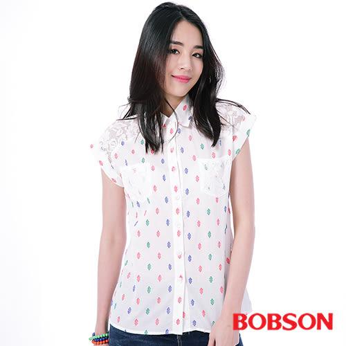 BOBSON  女款搭配蕾絲布襯衫(25133-81)