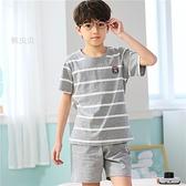 胖男童睡衣夏季加肥加大碼短袖男孩12中大童15歲夏天卡通純棉薄款 米娜小鋪