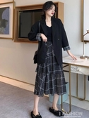 初春新款韓版女裝套裝chic格子拼接復古休閒小西裝外套女春秋-Ifashion