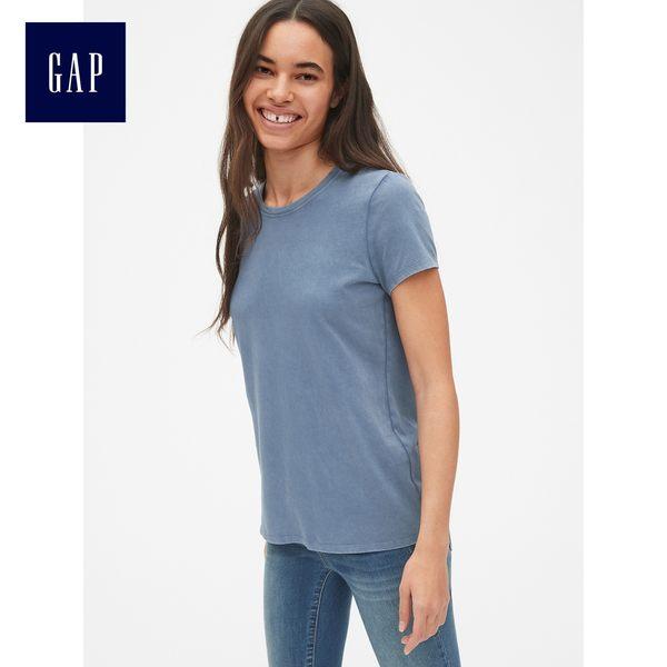 Gap女裝 復古短袖圓領T恤 231912-水洗藍色