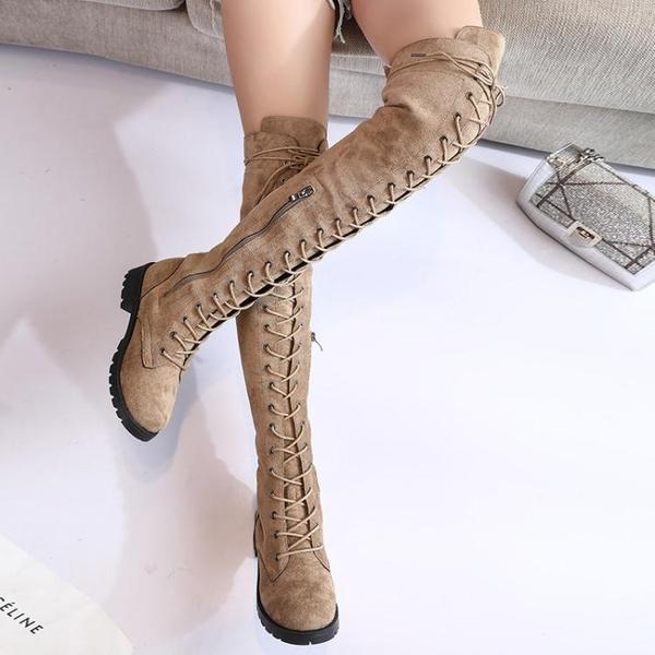 膝上靴 2019夏季新款馬丁靴女英倫風過膝靴女長筒高筒靴騎士機車靴子女 3色35-43