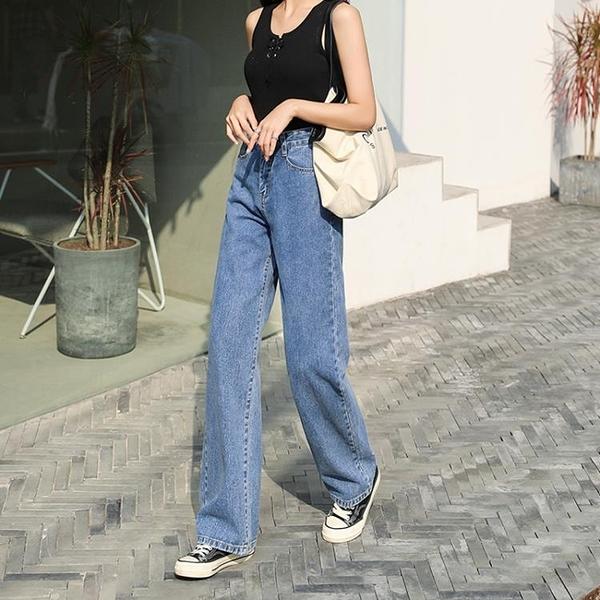 夏天薄款2020新款牛仔褲女直筒寬鬆寬管褲高腰小個子九分顯瘦顯高 滿天星
