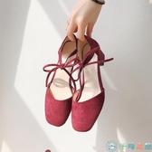 粗跟單鞋女韓版淺口方頭綁帶百搭高跟鞋涼鞋【千尋之旅】