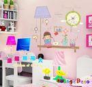 壁貼【橘果設計】女孩 含兩張壁貼 靜音壁貼時鐘 不傷牆設計 牆貼 壁紙裝潢