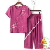兩件式褲裝 中老年女裝夏裝套裝棉麻媽媽短袖T恤兩件套休閒褲老年人奶奶衣服【樂淘淘】