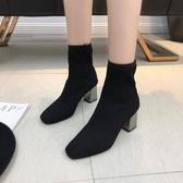 方頭馬丁靴女秋冬2019新款針織中筒彈力靴高跟瘦瘦靴粗跟飛織短靴 伊衫風尚