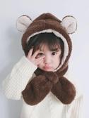 兒童帽子女寶寶護耳帽女童男童帽秋冬嬰幼兒圍巾一體可愛超萌冬季  免運快速出貨