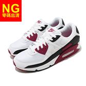 【US10-NG出清】Nike 休閒鞋 Air Max 90 白 紅 黑 男鞋 皮革鞋面 氣墊 運動鞋 右鞋頭色差【ACS】