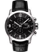 TISSOT 天梭 T-Sport PRC200 競速三眼計時機械皮帶手錶-黑 T0554271605700