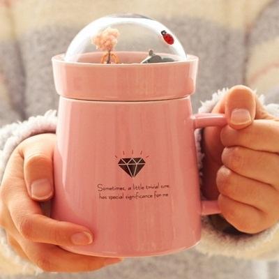 彩繪咖啡杯-可愛景觀小花園杯蓋陶瓷馬克杯4色72ax20【時尚巴黎】