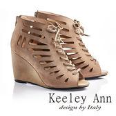 ★零碼出清★Keeley Ann帥氣魚骨綁帶真皮高跟魚口踝靴(杏色)-Ann系列