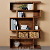 書櫃 書架 收納 北歐實木書櫃儲物收納展示櫃 美式創意實木書櫃多功能隔斷置物架 DF 免運
