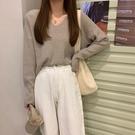 慵懶寬鬆毛衣女秋季新款韓版V領長袖針織衫外穿套頭學生上衣 小山好物