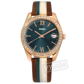 FOSSIL / ES4593 / Scarlette Mini 晶鑽鑲圈 拼接撞色 真皮手錶 藍x玫瑰金框x棕 32mm