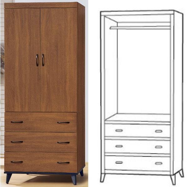 衣櫃 衣櫥 PK-237-3 喬伊淺胡桃3X7尺衣櫥【大眾家居舘】