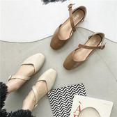 2018新款韓版淺口方頭小皮鞋鞋女復古奶奶鞋