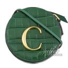 茱麗葉精品【全新現貨】CHLOE 金屬C Mini 鱷魚紋斜背圓型包.綠