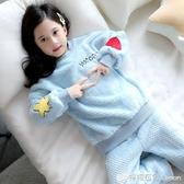 兒童睡衣冬季珊瑚絨套裝小女孩加絨長袖法蘭絨公主保暖女童家居服 雙十二全館免運