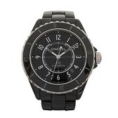 CHANEL 香奈兒 黑色陶瓷 J12自動上鍊12.1機芯腕錶 Caliber H5697【BRAND OFF】