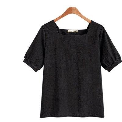歐美襯衫上衣S-2XL速賣通亞馬遜wish爆款U領短袖女全棉純色棉麻女上衣X46A-385依品國際