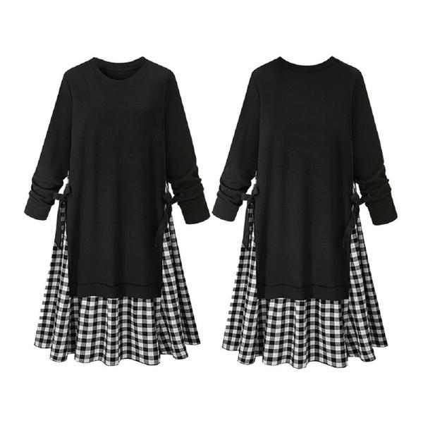 (現貨+預購 RN-girls)-加大碼文青風休閒假兩件格子長袖洋裝