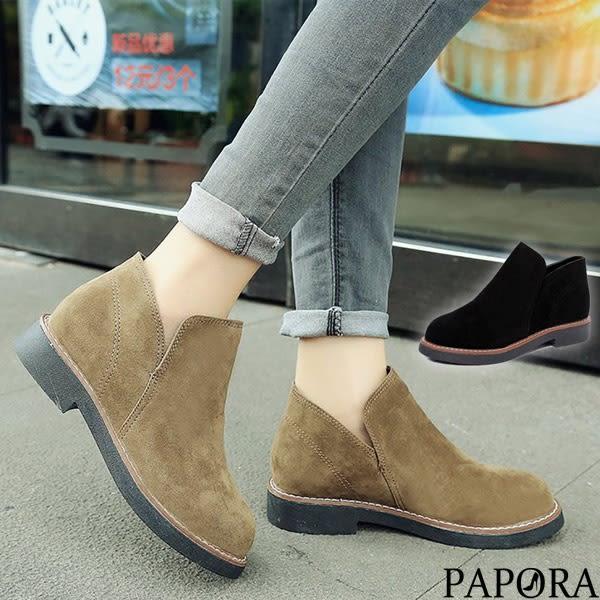 PAPORA百搭必備素面短靴KA42黑/棕(偏小)