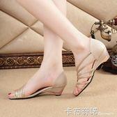 春夏季新款品女鞋涼鞋側鏤空中跟坡跟時尚魚嘴鞋淺口潮鞋女鞋 卡布奇諾