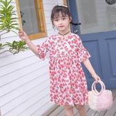 女童洋裝2020夏季新款韓版洋氣公主裙中大童短袖碎花雪紡娃娃裙 滿天星