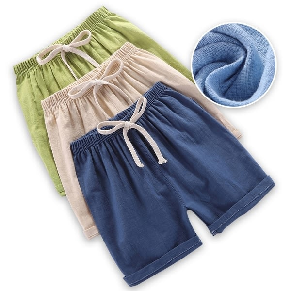 兒童短褲 夏季竹節棉薄款睡褲棉麻短褲-JoyBaby
