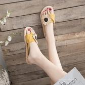 人字拖鞋女外穿2020新款夏季百搭韓版半平底防滑花朵夾趾網紅涼拖 米娜小鋪