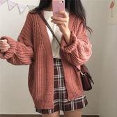 DE SHOP~針織毛衣女長袖寬鬆韓范純色慵懶風氣質學生保暖開衫外外套(GU-2525)