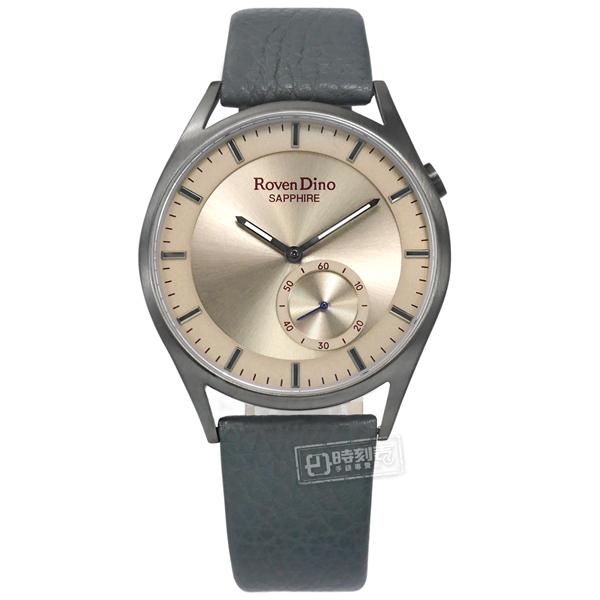 羅梵迪諾 Roven Dino / RD724GUN / 簡約文青 藍寶石水晶玻璃 壓紋真皮手錶 古銅金x鈦灰框x藍灰 40mm