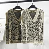 豹紋V領毛衣馬甲女冬新款加厚寬鬆無袖坎肩外穿針織背心馬夾「時尚彩虹屋」