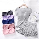 睡裙 帶胸墊睡衣女夏季薄款兩件套短袖短褲裙套裝莫代爾家居服寬鬆大碼 韓菲兒