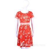 Max Mara-WEEKEND 紅色印花設計短袖洋裝 1520957-49