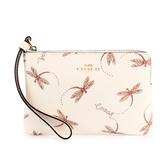 COACH 蜻蜓印花PVC皮革L型拉鍊手拿包(粉白色)198374