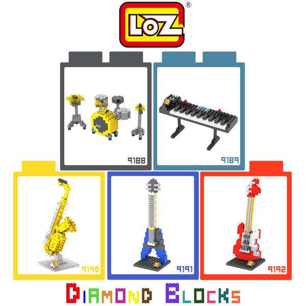☆愛思摩比☆ LOZ 鑽石積木9188 - 9192 樂器系列 爵士鼓 電子琴 薩克斯風 電吉他 益智玩具 迷你積木