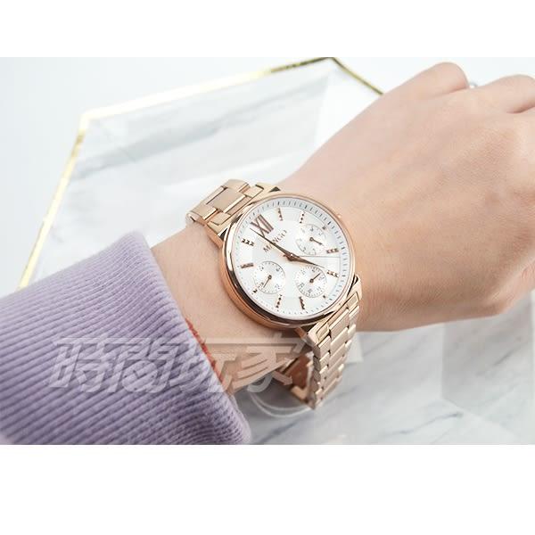 MANGO 自信柔美三眼女錶 藍寶石水晶鏡面 不銹鋼防水手錶 白面x玫瑰金 MA6737L-80R【時間玩家】