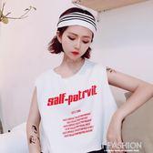 2018夏裝新款女裝韓版原宿風個性字母印花短款背心無袖T恤上衣·Ifashion