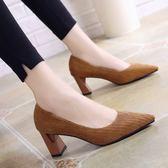 正韓尖頭高跟鞋女粗跟中跟燈芯絨百搭女鞋顯瘦職業工作鞋