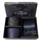 茱麗葉精品【全新現貨】COACH 79845 經典品牌LOGO襪子雙杯套禮盒組.深藍