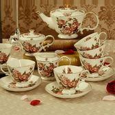 下午茶茶具組合含咖啡杯+茶壺-4人美觀時尚歐式骨瓷茶具5色69g32[時尚巴黎]