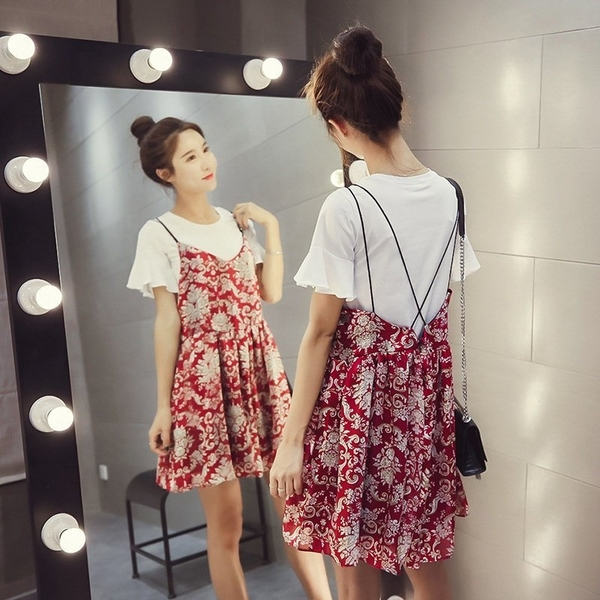 FINDSENSE G5 韓國時尚 清新 短袖 T恤 兩件套 吊帶 高腰 碎花