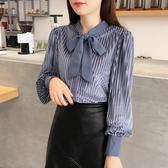 韓版冬裝金絲絨蝴蝶結襯衫女秋裝2020新款寬鬆長袖襯衣女上衣潮
