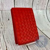 BRAND楓月 BOTTEGA VENETA BV 皮革 亮橘色 經典 編織 護照夾 證件套