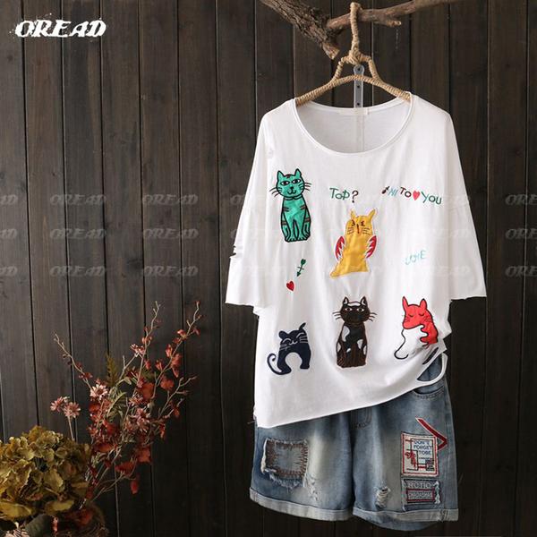 可愛貓咪魚骨刺繡短袖上衣