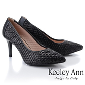 ★2019春夏★Keeley Ann慵懶盛夏 OL編織拼接高跟鞋(黑色)