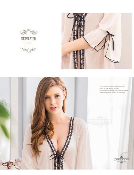 睡衣 性感睡衣【中大尺碼睡衣】緞帶奶白柔緞罩衫二件式睡衣 星光密碼B010